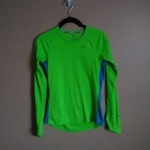 Nike Dri Fit Long Sleeve Lime Running Tee
